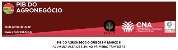 PIB do agronegócio cresce em março e acumula alta de 3,3% no primeiro trimestre